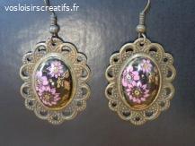 """Boucles d'oreilles """"Dentelle"""" cabochon fleurs"""