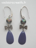 Boucles d'oreilles Goutte sequin émail violet
