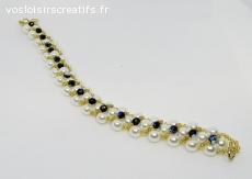 Bracelet blanc or et rocail reflet bleu