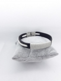 Bracelet cuir noir macramé blanc