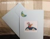 Carte anniversaire/naissance 110 x 155 mm brodée
