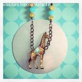 Collier Girafe vintage en bois