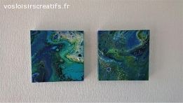 Création originale Fluid Art (pouring) - 29x29 3D (#506)