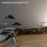 Décoration en bois flotté sur le thème des fonds Marins