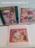 Lot 3 cartes NOËL,  Fëtes , 3D faites main sur canson 15X15
