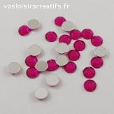 Lots de 5 perles strass à facette - Fuchsia