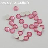 Lots de 5 perles strass à facette - Rose clair