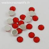 Lots de 5 perles strass à facette - Rouge