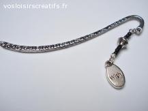 """Marque pages métal argent tibétain - breloque """"wish"""""""