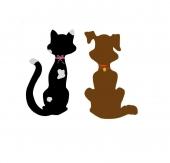 Pancarte mural / de porte bois couple chat et chien H34 cm