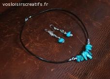 Parure Turquoise collier et boucles d'oreilles