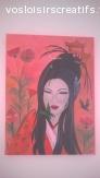 """Peinture """"Japonaise aux papillons"""""""