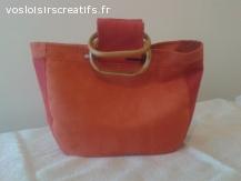 Petit sac à main bicolore rouge/orange