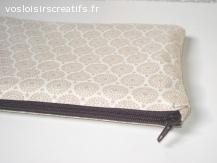 Pochette de sac ou trousse multi-usage - Cercles beige