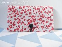 Porte chéquier - Coquelicots rouges - Inspiration japonaise