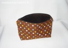 Trousse multi-usage ou pochette de sac - Marron hexagones
